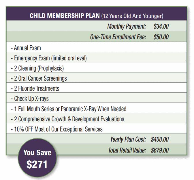 child membership plan pricing