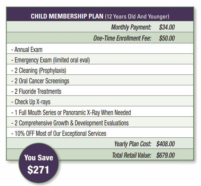 child membership plan pricing