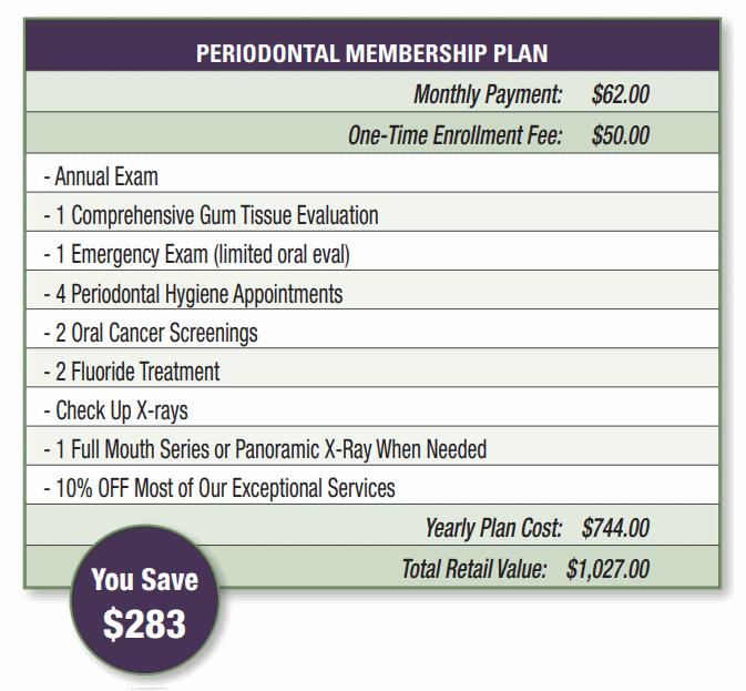 periodontal membership plan pricing